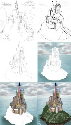 castle drawstepbystep drawing draw