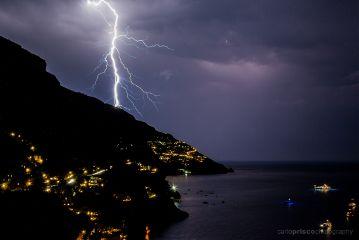 positano italy lightning night