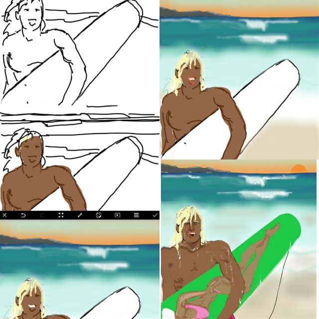 surfing drawing steps