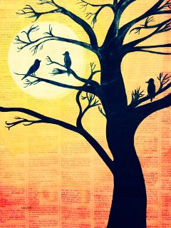 sunset silhouettes nature newspaper art