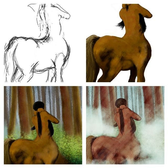 Centaur drawing steps