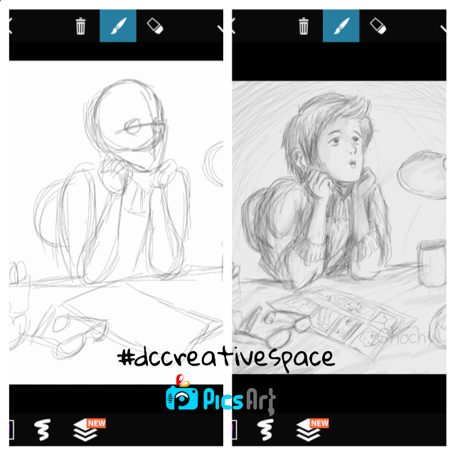 creative space drawing steps